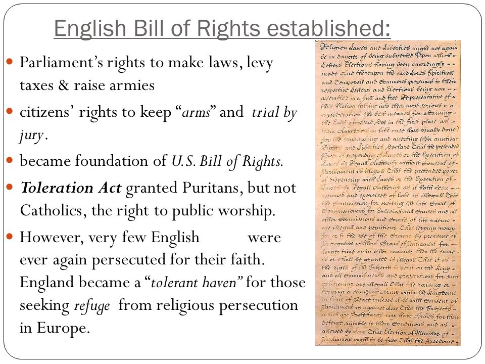 English Bill of Rights established: