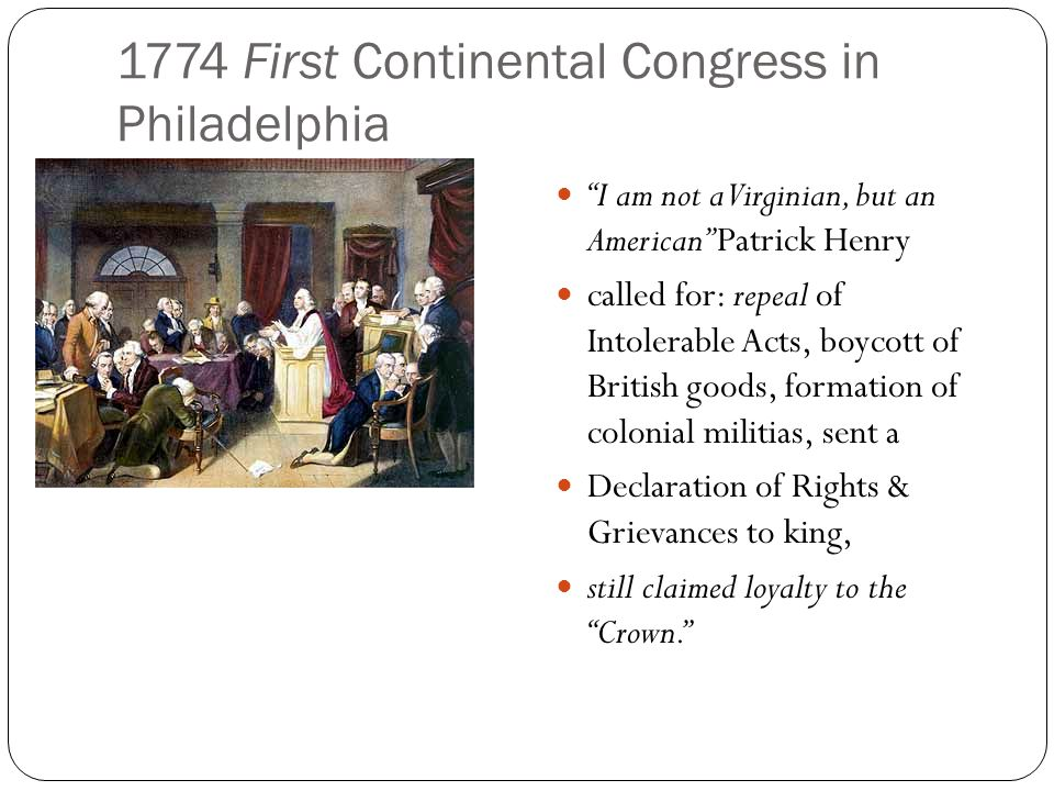 1774 First Continental Congress in Philadelphia