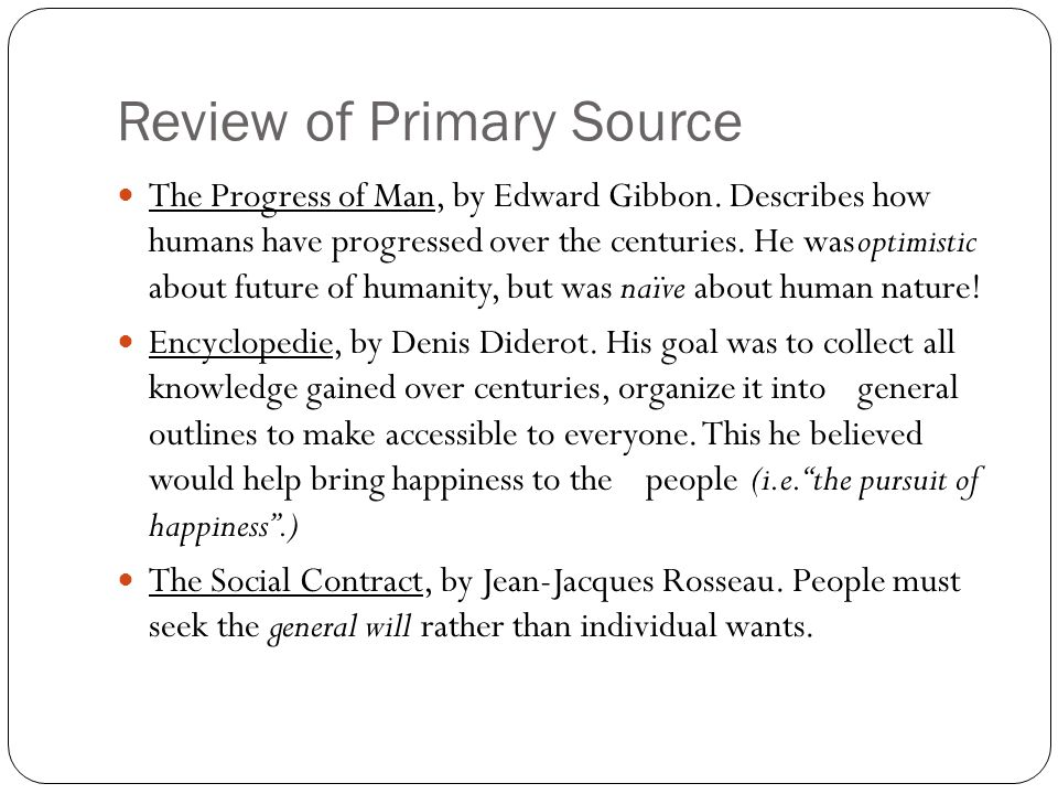 Review of Primary Source