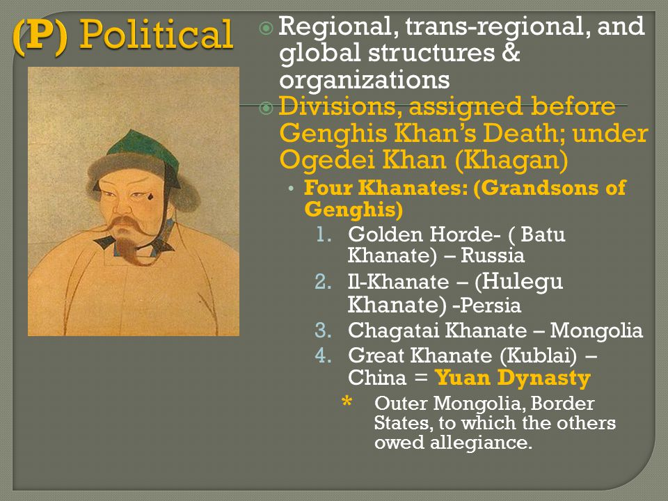 (P) Political Regional, trans-regional, and global structures & organizations.