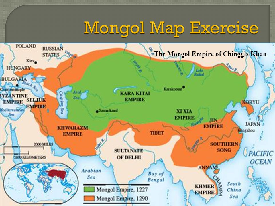 Mongol Map Exercise The Mongol Empire of Chinggis Khan