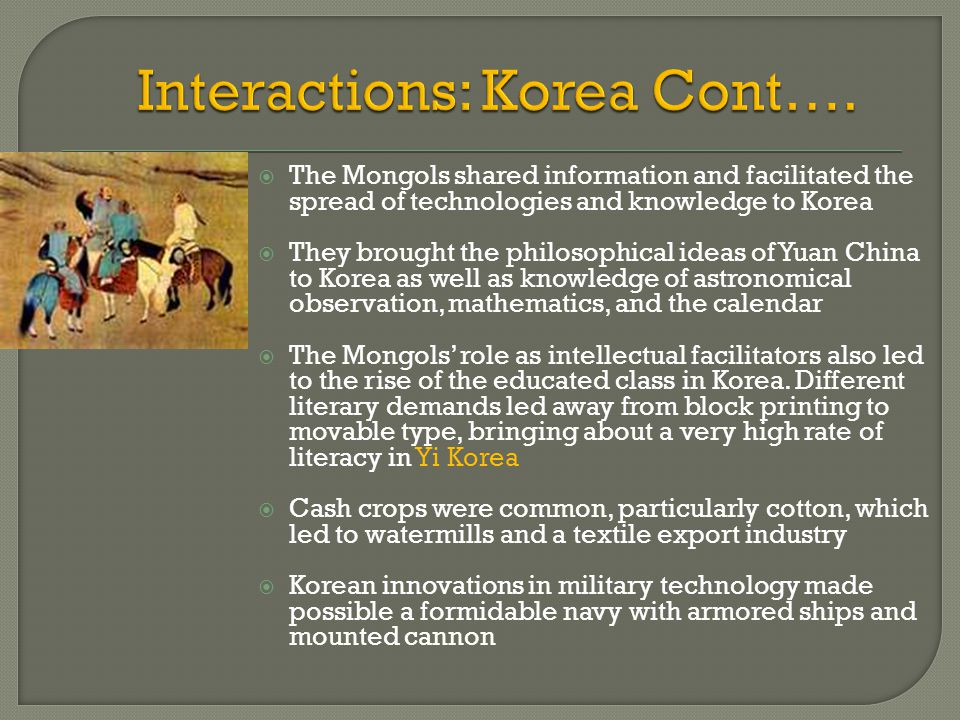 Interactions: Korea Cont….