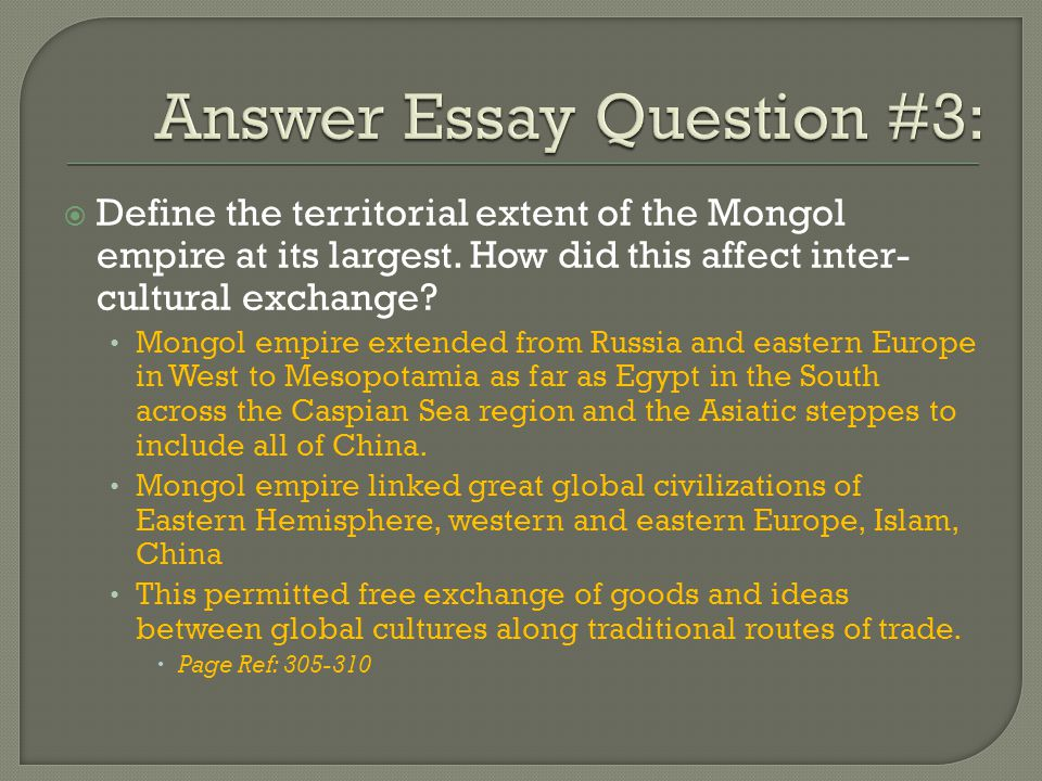 Answer Essay Question #3: