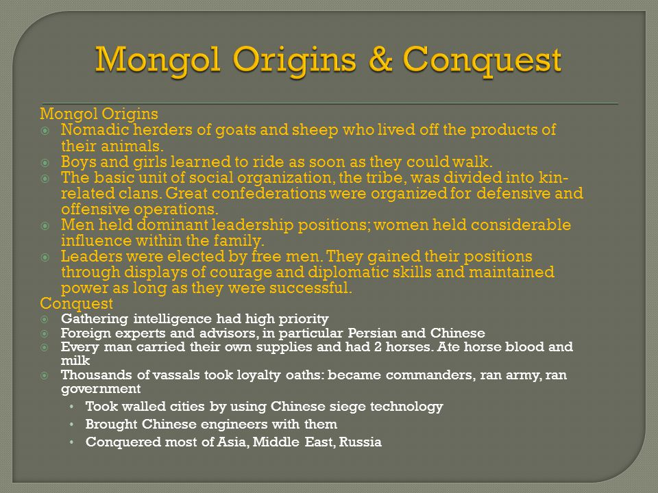 Mongol Origins & Conquest