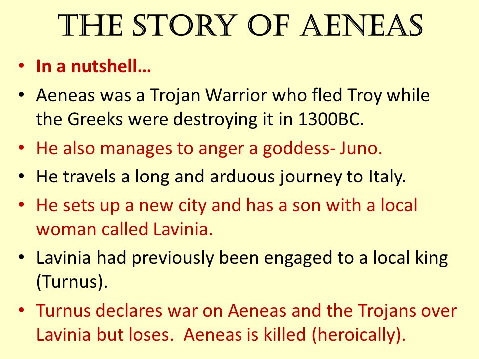 The story of Aeneas In a nutshell…