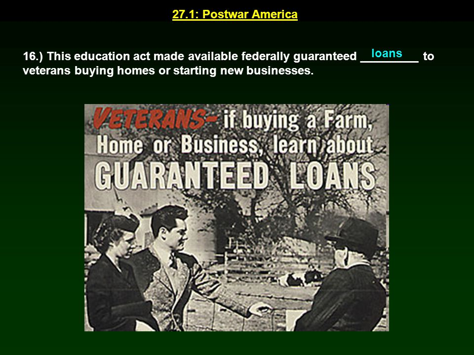 27.1: Postwar America loans.