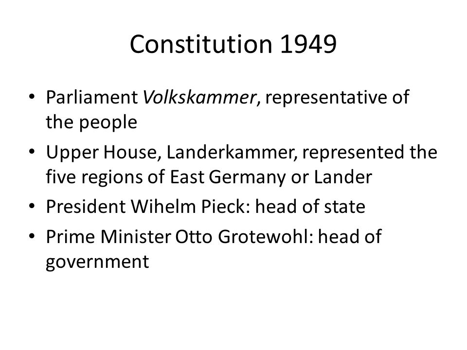 Constitution 1949 Parliament Volkskammer, representative of the people