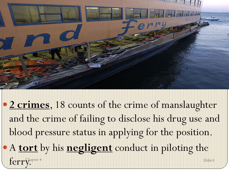 A tort by his negligent conduct in piloting the ferry.