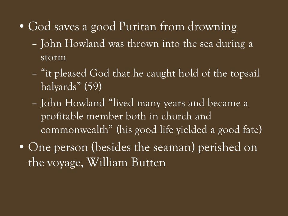 God saves a good Puritan from drowning
