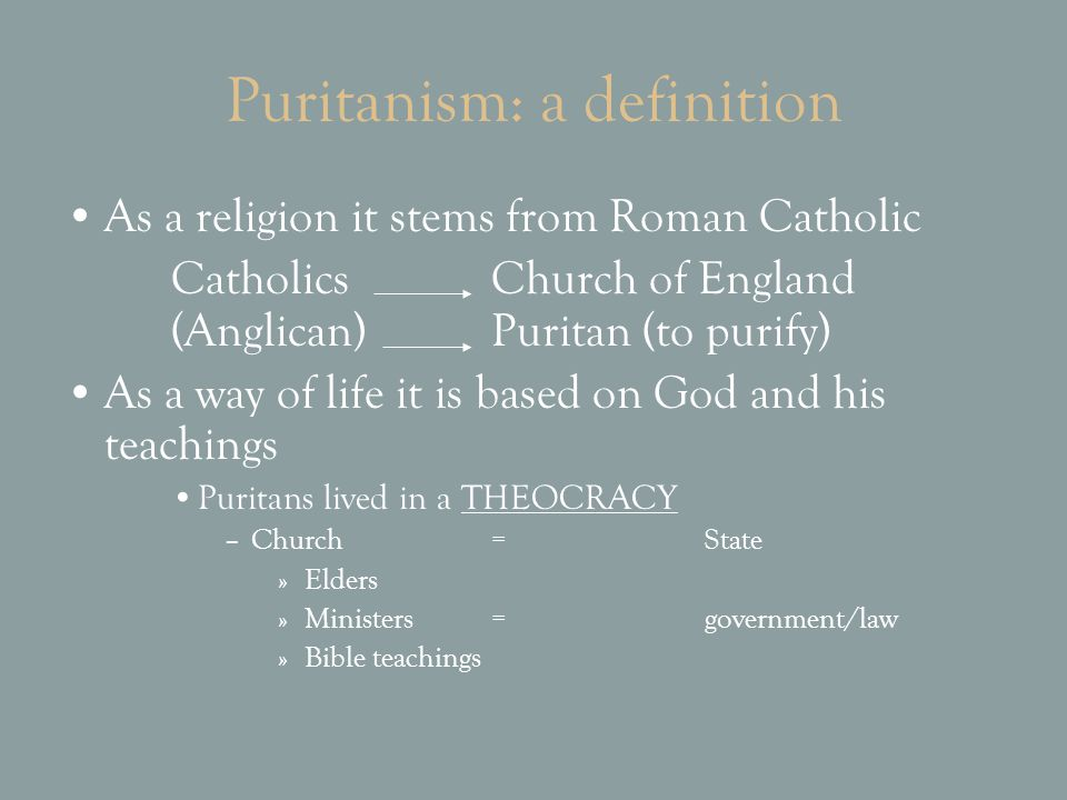 Puritanism: a definition