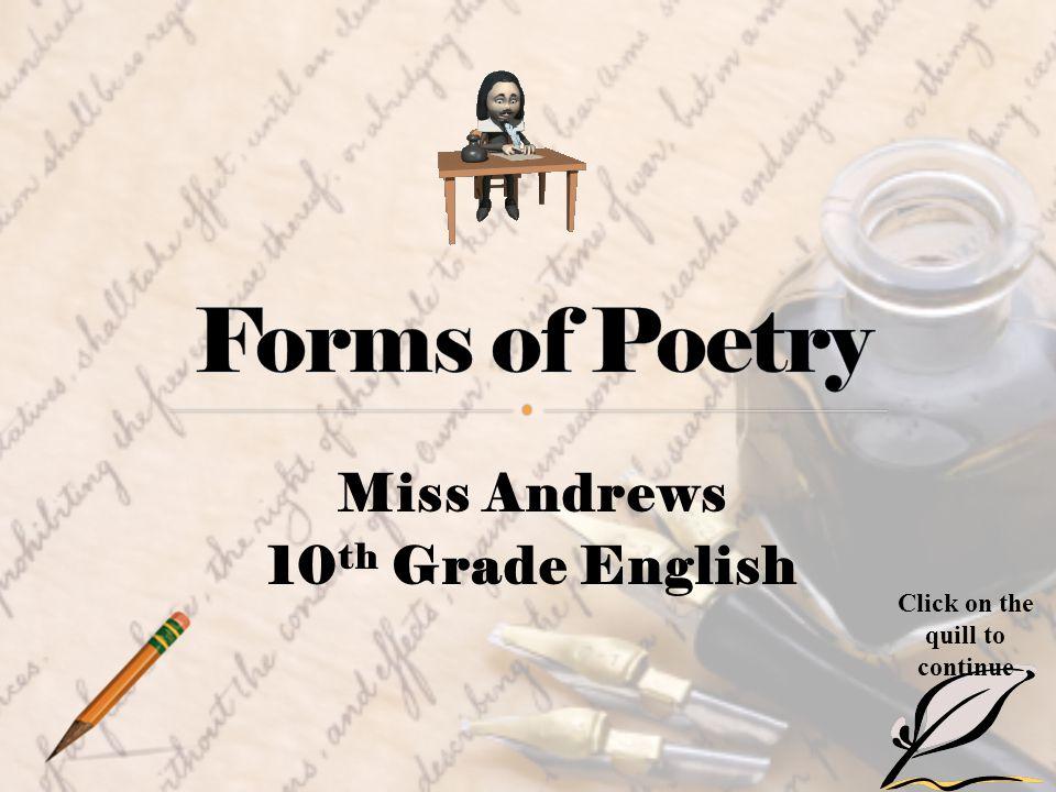 Miss Andrews 10th Grade English