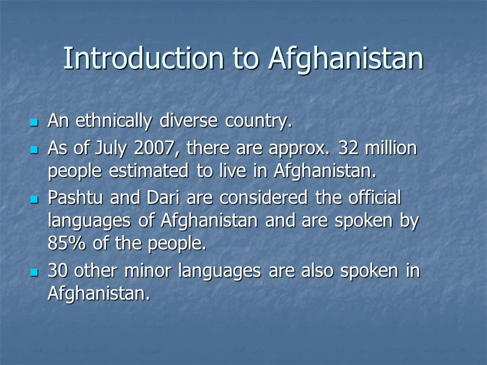 Introduction to Afghanistan