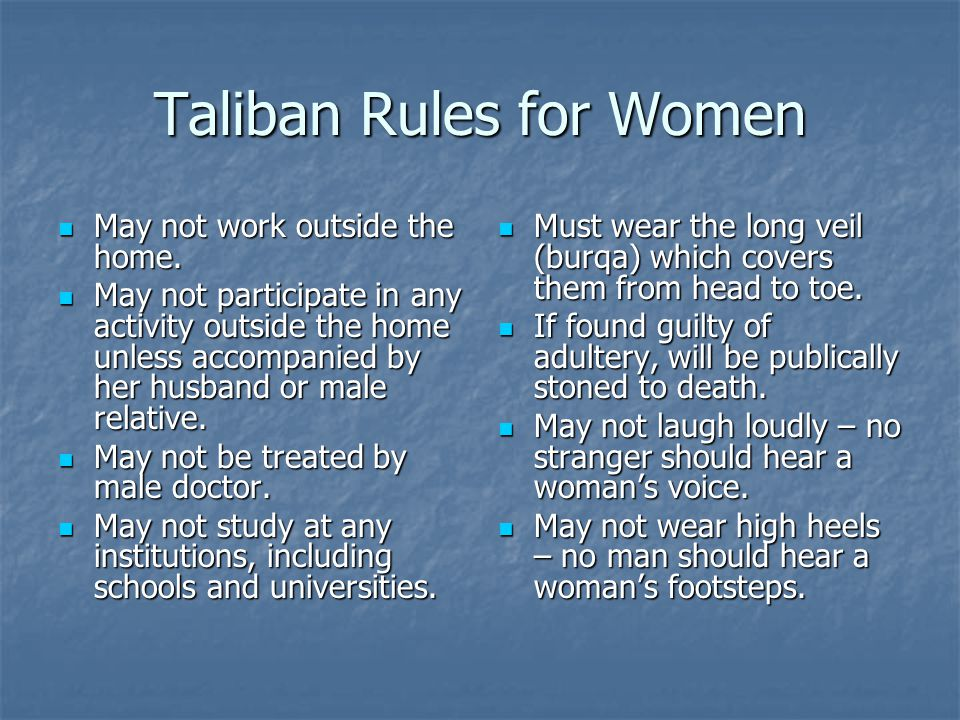 Taliban Rules for Women