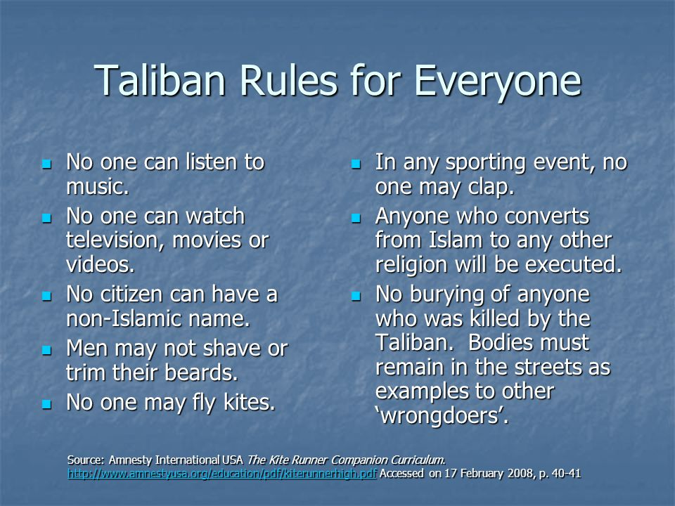 Taliban Rules for Everyone