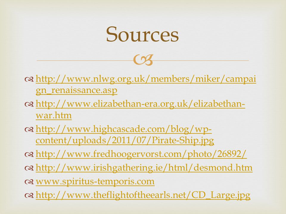 Sources http://www.nlwg.org.uk/members/miker/campaign_renaissance.asp