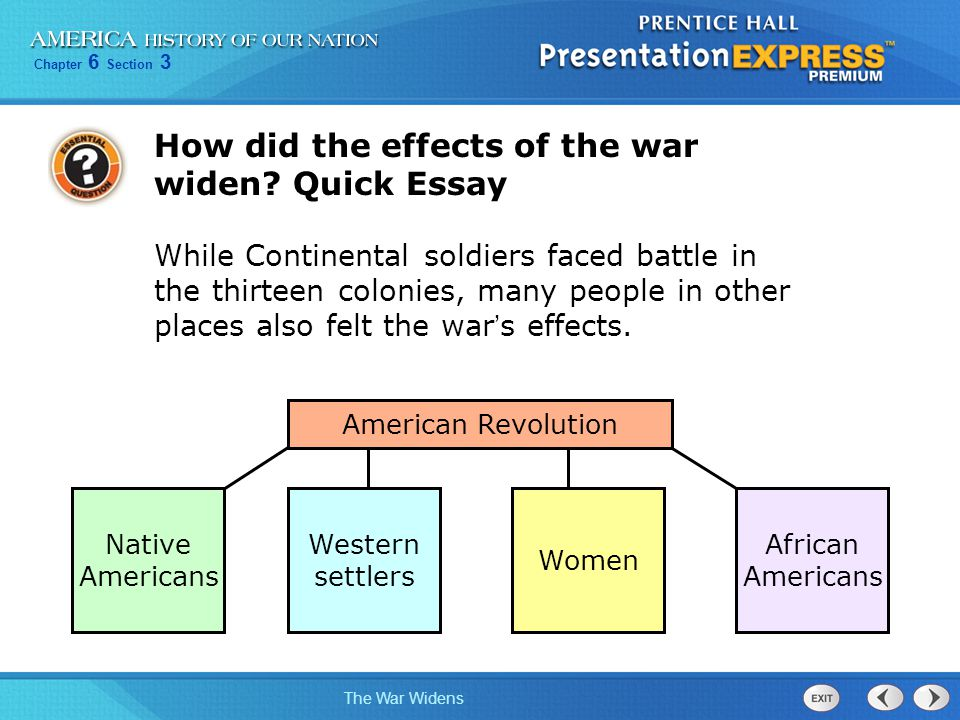 How did the effects of the war widen Quick Essay