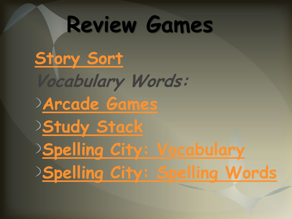 Review Games Story Sort Vocabulary Words: Arcade Games Study Stack