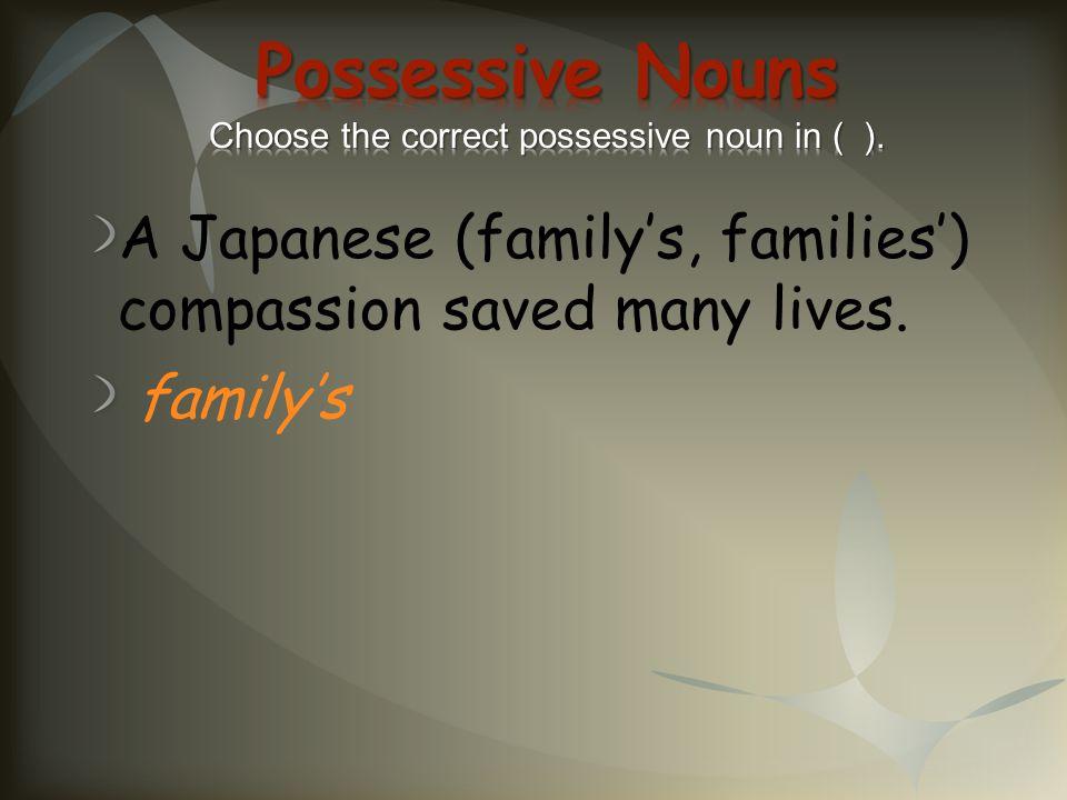Possessive Nouns Choose the correct possessive noun in ( ).
