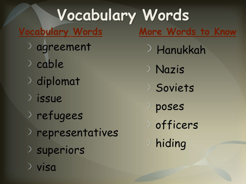 Vocabulary Words Hanukkah agreement cable Nazis diplomat Soviets issue