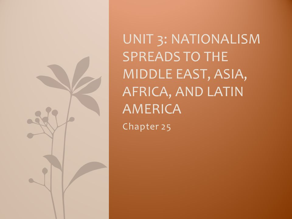 Unit 3: Nationalism Spreads to the Middle East, Asia, Africa, and Latin America