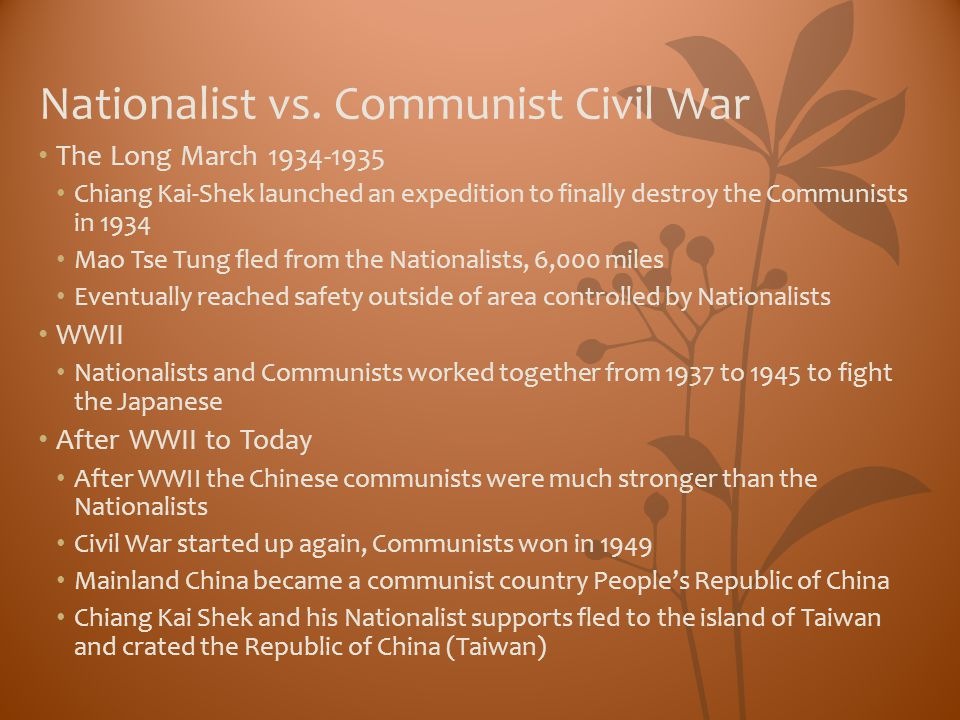 Nationalist vs. Communist Civil War