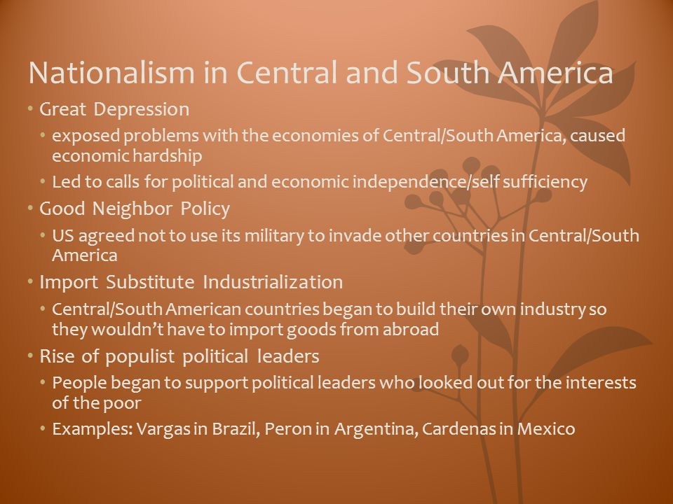 Nationalism in Central and South America