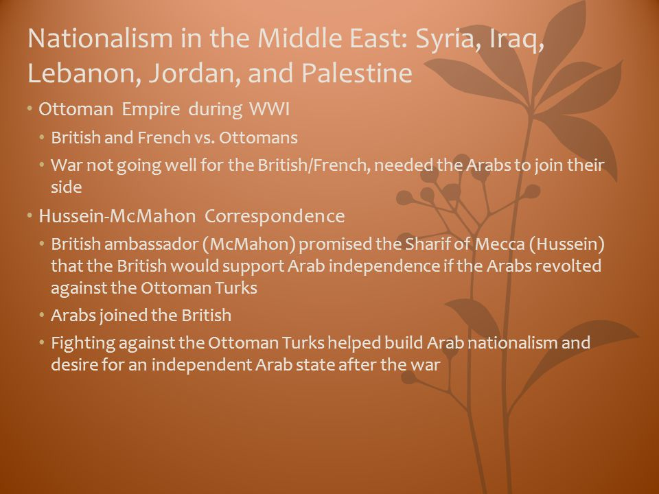 Nationalism in the Middle East: Syria, Iraq, Lebanon, Jordan, and Palestine