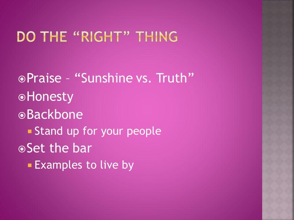 Do the Right Thing Praise – Sunshine vs. Truth Honesty Backbone