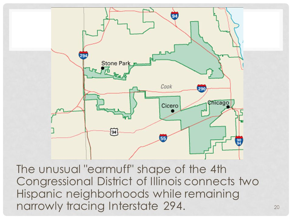 The unusual earmuff shape of the 4th Congressional District of Illinois connects two Hispanic neighborhoods while remaining narrowly tracing Interstate 294.