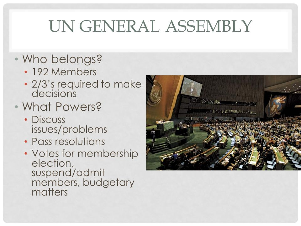 Un General Assembly Who belongs What Powers 192 Members