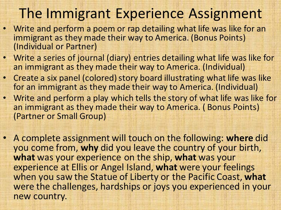 The Immigrant Experience Assignment