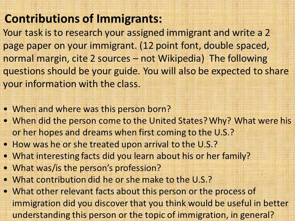 Contributions of Immigrants:
