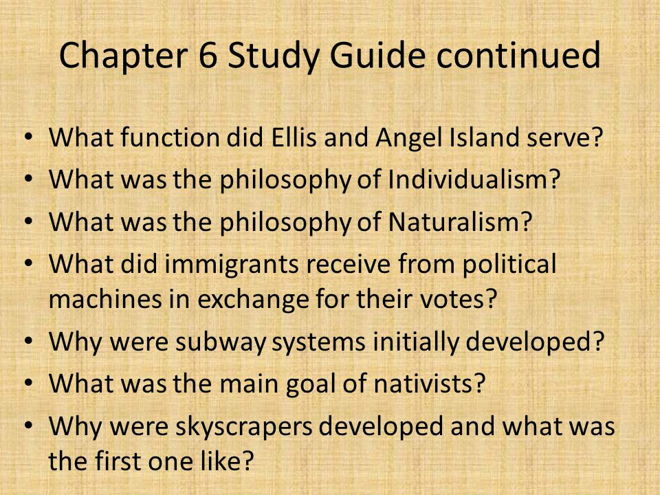 Chapter 6 Study Guide continued