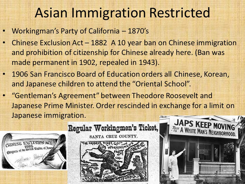 Asian Immigration Restricted