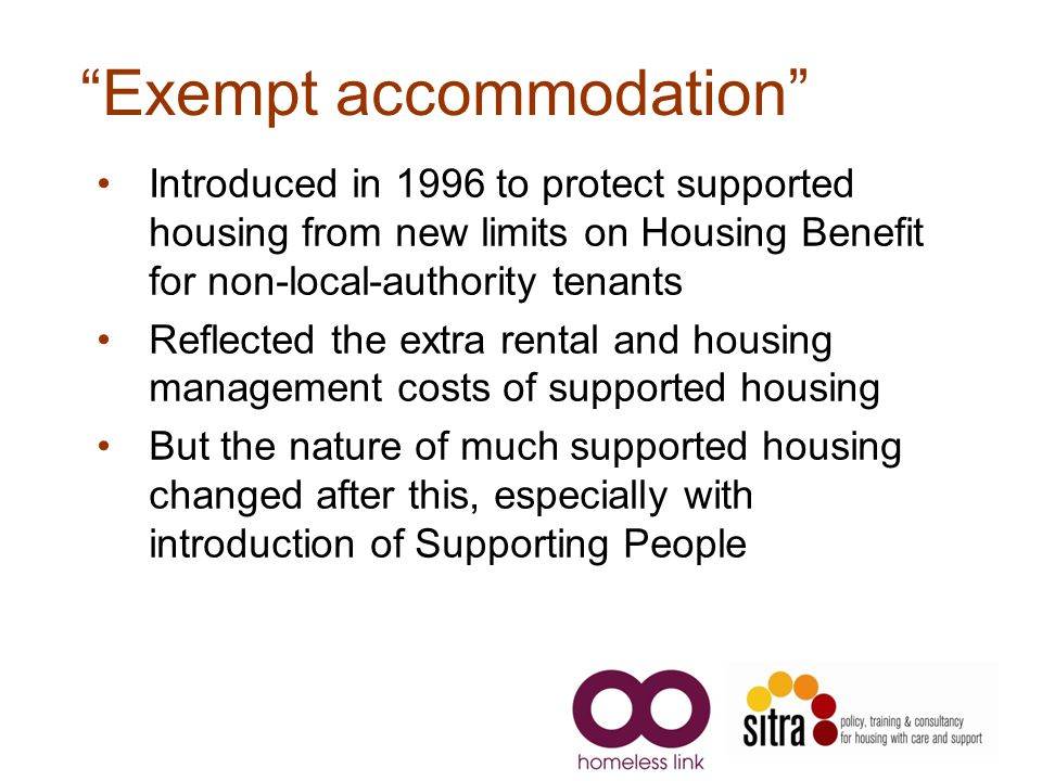 Exempt accommodation