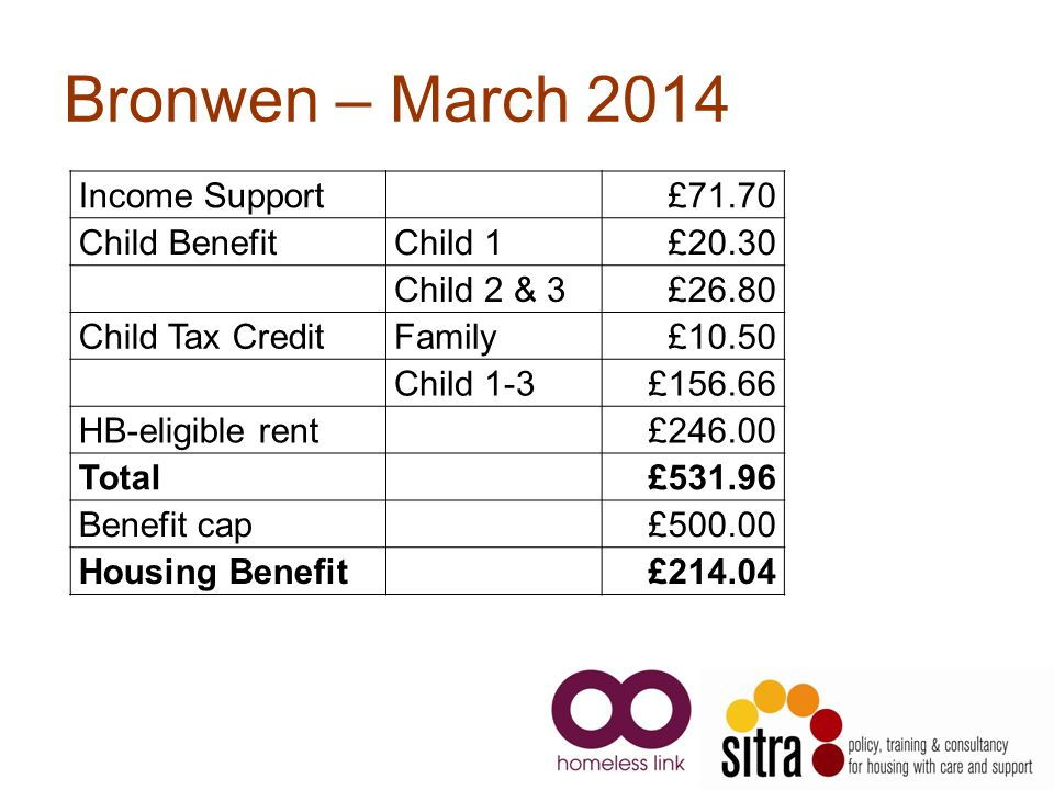 Bronwen – March 2014 Income Support £71.70 Child Benefit Child 1