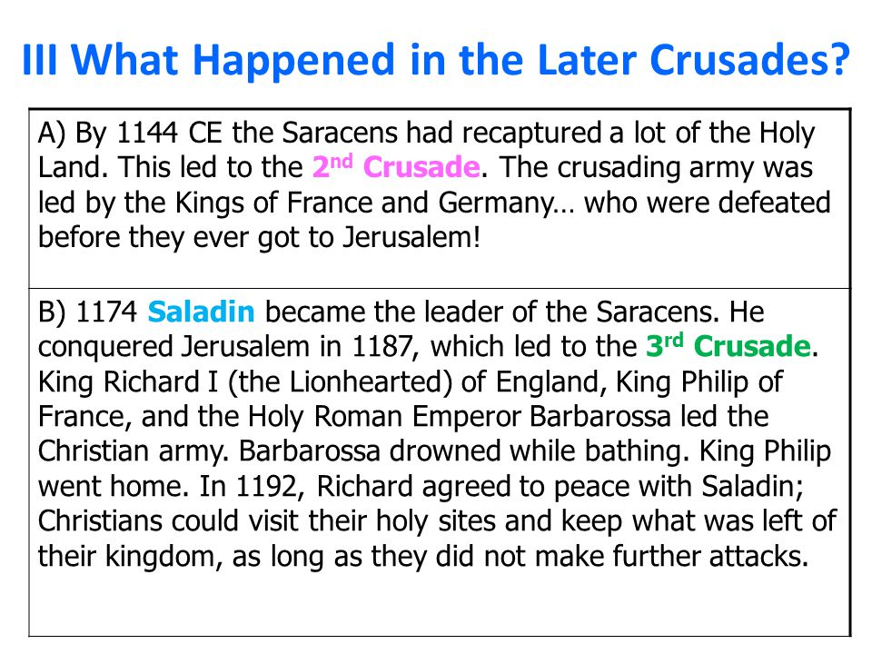 III What Happened in the Later Crusades