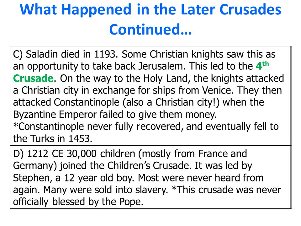 What Happened in the Later Crusades Continued…
