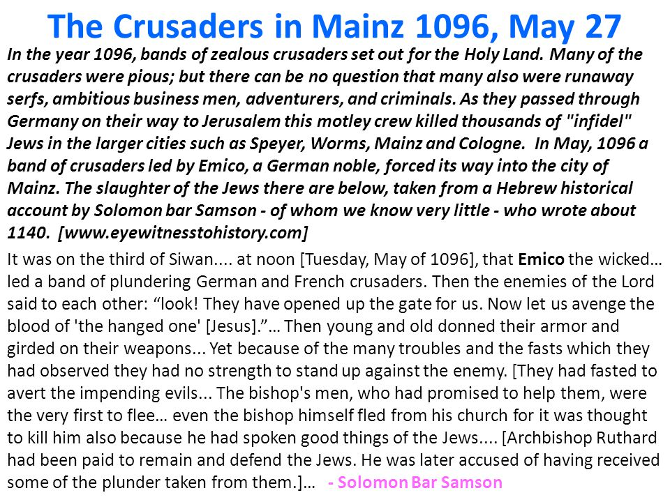 The Crusaders in Mainz 1096, May 27