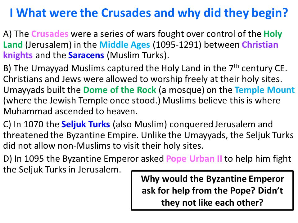 The Purpose of the Crusades from 1096 AD to 1270 AD Essay Paper
