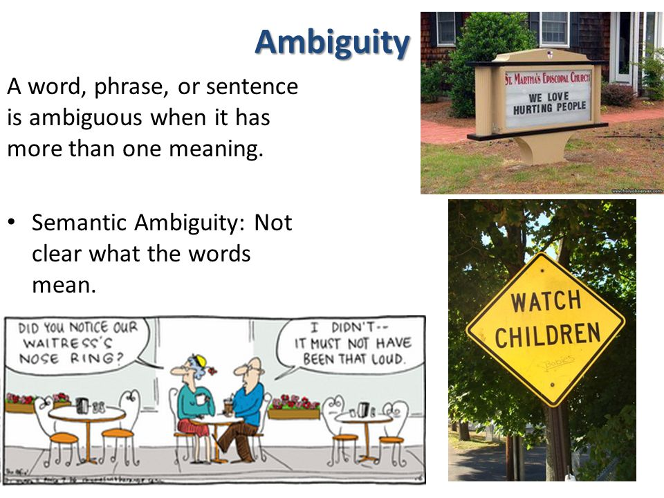 Ambiguity A word, phrase, or sentence is ambiguous when it has more than one meaning.
