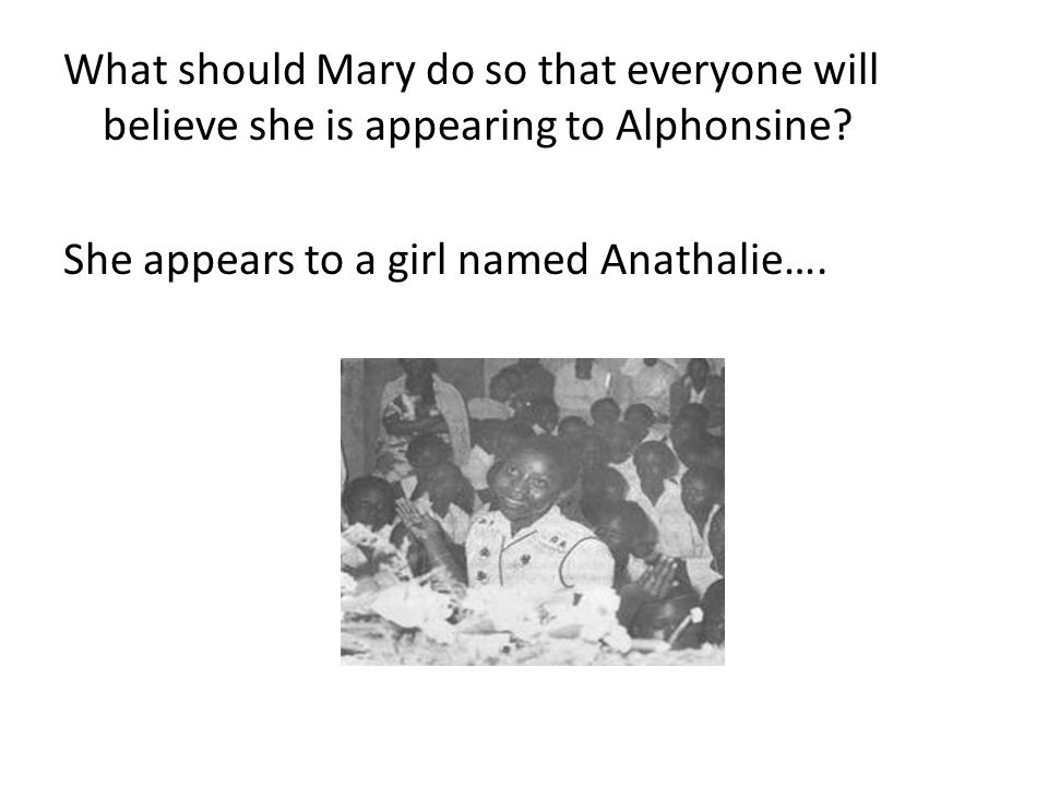 What should Mary do so that everyone will believe she is appearing to Alphonsine.