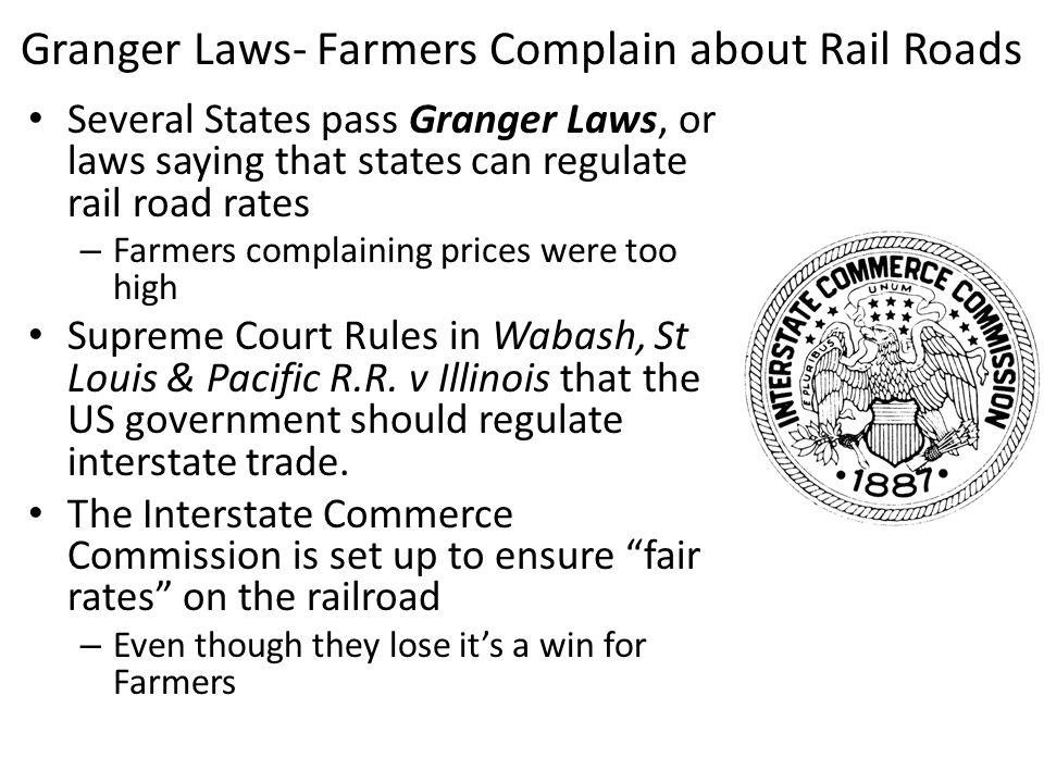 Granger Laws- Farmers Complain about Rail Roads