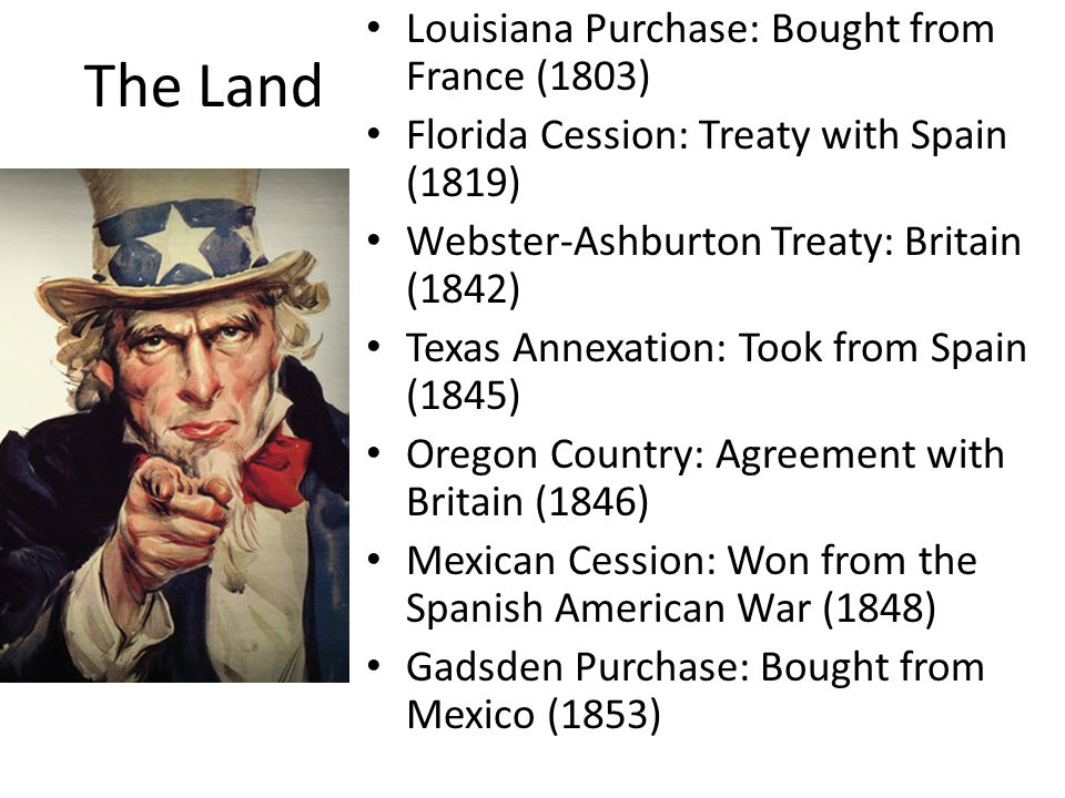 The Land Louisiana Purchase: Bought from France (1803)