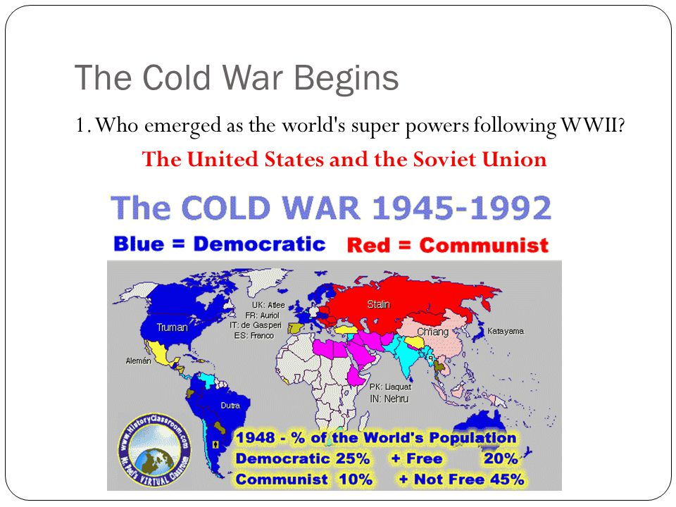 The Cold War Begins 1. Who emerged as the world s super powers following WWII.