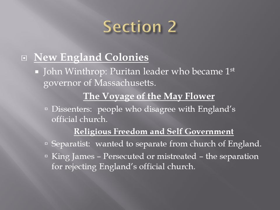 The Voyage of the May Flower Religious Freedom and Self Government