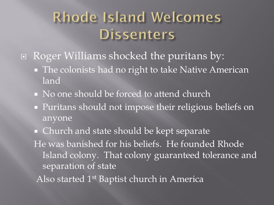 Rhode Island Welcomes Dissenters