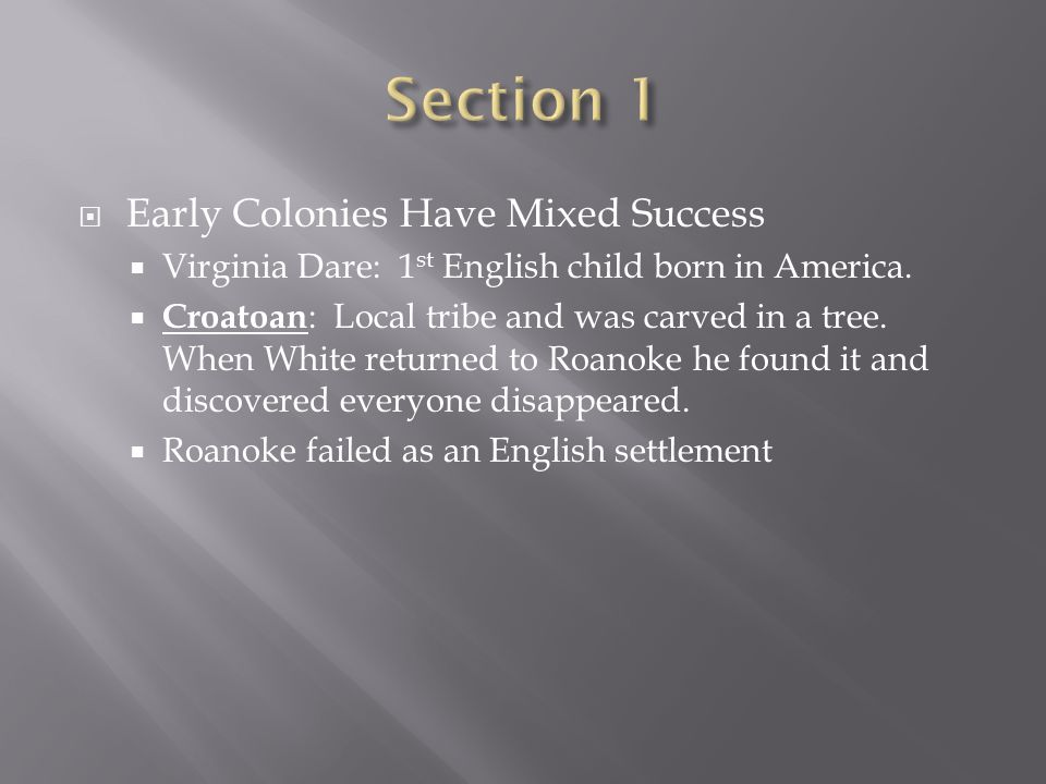 Section 1 Early Colonies Have Mixed Success