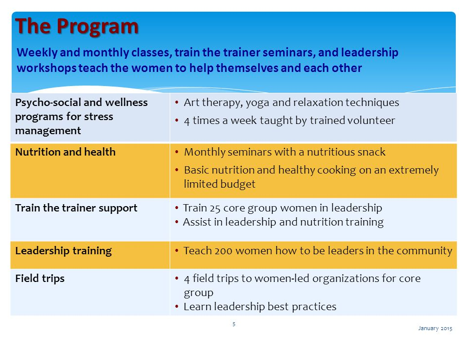 The Program Weekly and monthly classes, train the trainer seminars, and leadership workshops teach the women to help themselves and each other.