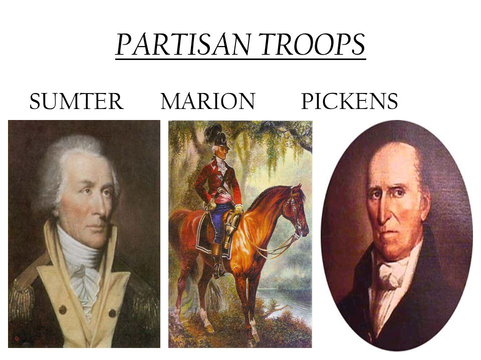 PARTISAN TROOPS SUMTER MARION PICKENS